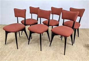Set 6 ICO PARISI Dining Chairs. Dark Stained Frame Side