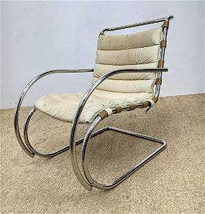 KNOLL Furniture Chrome Tube Frame Lounge MR Chair. Leat