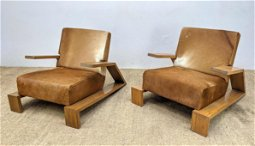 Pair Oak Jean Michel Frank Style Lounge Chairs. Natural