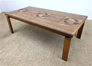 TROIH Danish Modern Coffee Table. Inset Pottery Tiles.