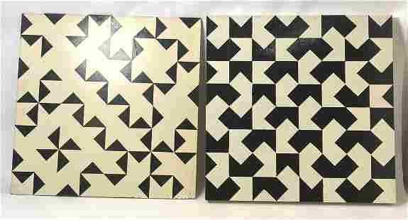 2pc RONALD BROWN 1990 Op Art Paintings. Striking Abstra