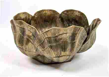 Large Brass Bowl with Shell form design.