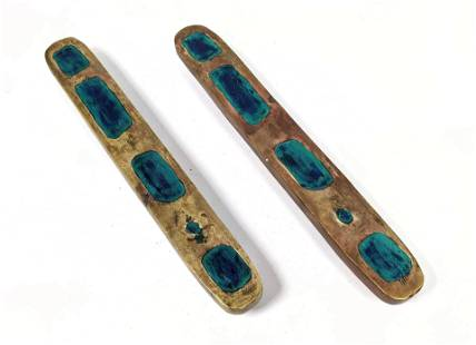 Pr Long Enameled Bronze Door Pulls. Stamped Mexico Mend