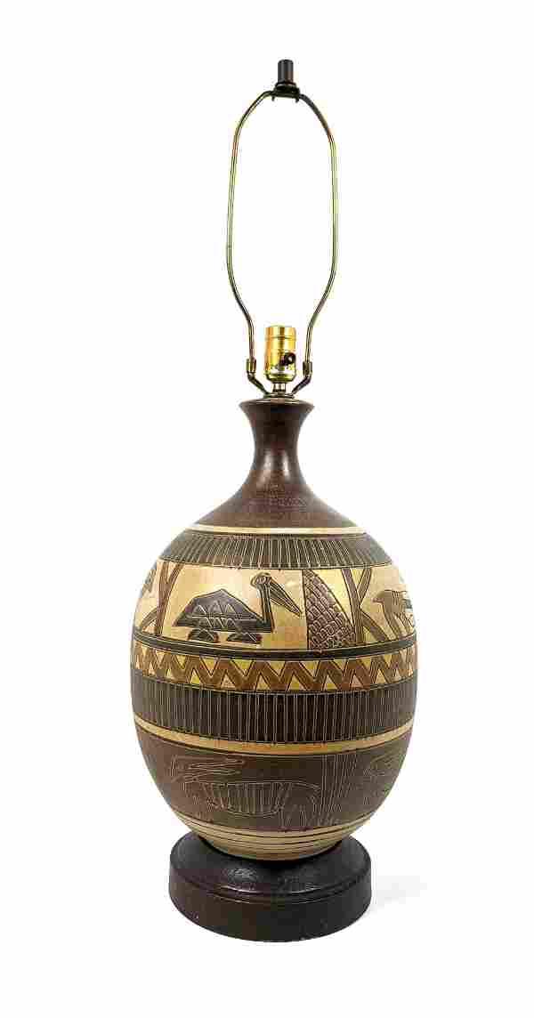 Large Modernist Bulbous Pottery Table Lamp. Warm Glazes