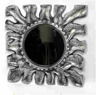 DON DRUMM STUDIOS Metal Wall Mirror. Modernist Sun Bur