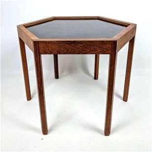 HANS C ANDERSEN Hexagonal Teak Side Table. Inset black