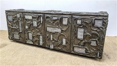 PAUL EVANS Long Sculpted  Credenza inset with etched al