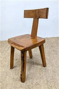 Rustic French Wood Side Chair. Natural plank seat.