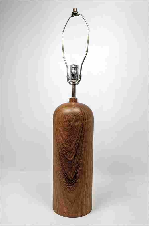 Modernist Danish Teak Bullet Form Table Lamp.