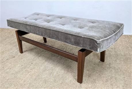 Jens Risom Style Upholstered Bench. Tufted Gray Velvet