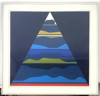 ERNEST TROVA 1967 Modernist Abstract Print. Silkscreen