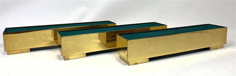 3 CONTEMPORA Brass Planters.