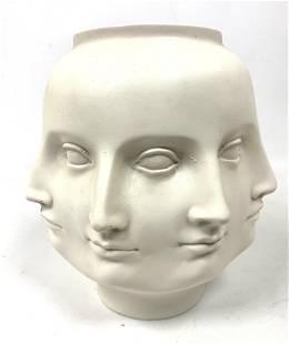 White Fornasetti Adler style Perpetual Head Face Vase.