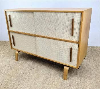 Alvar Aalto style Blond Wood Modernist Cabinet. Perfora