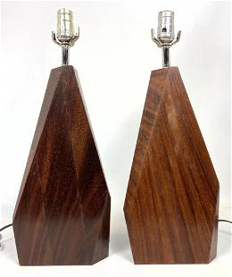 Pr Modernist Sculptural Wood Wedge Table Lamps. Angled