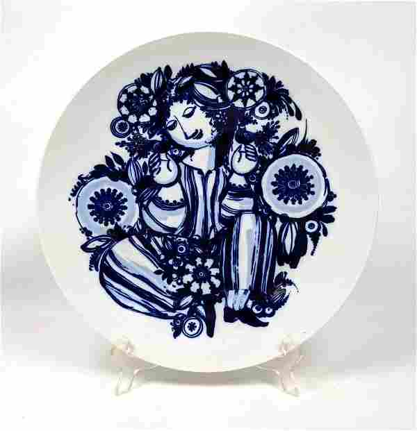 BJORN WIINBLAD for ROSENTHAL Porcelain Charger. Blue fi