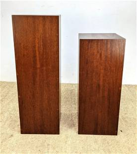 2pc American Modern Tall Wood Display Pedestals. Sculpt