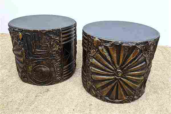 Pr ADRIAN PEARSALL Goop Round Side End Tables. Modernis