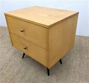 Paul McCobb Two drawer Night Stand. Ebonized peg legs.