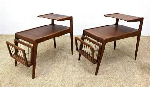 Pair KURT OSTERVIG Side Tables. 2 Tier tables with det