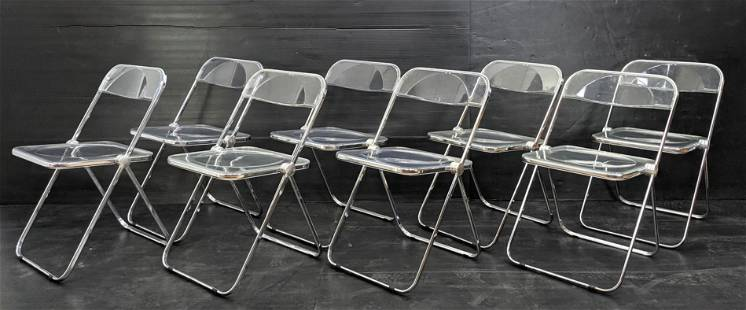 set 8 CASTELLI Italy Lucite Acrylic Folding Chairs.