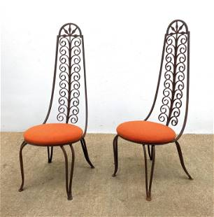 Pair Decorative Iron Tall Back Chairs.