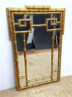 Vintage Faux bamboo Gilt Painted Wall Mirror. Decorator