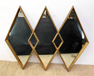 La Barge Style Gold Gilt Tri Mirror Three diamond