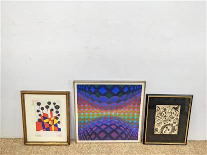3pc Modernist Prints. Victor Vasarely, Calder, Chagall.