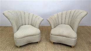 Pr Flared Shell Form Back Lounge Chairs. Contemporary N