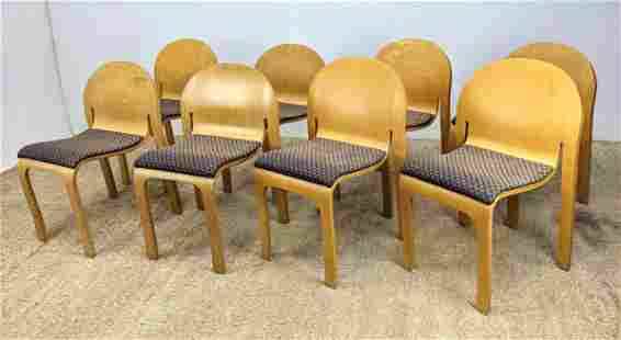 Set of 8 Molded Wood Stacking Chairs. Peter Denko