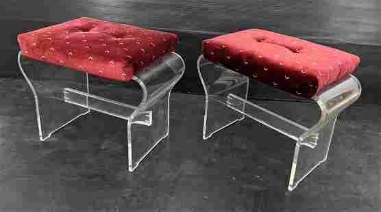 Pr HILL Modernist Lucite Upholstered Vanity Stools. Ben