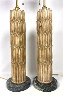 Pr Modernist Wood Foliate Column Table Lamps. Marble b