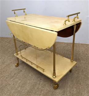 ALDO TURA Lacquered Goatskin Serving Cart. Rolling Bar