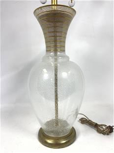 Bubble Glass Vase Form Table Lamp. Gilt line paint trim