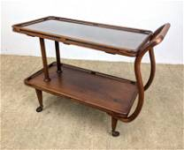 French Deco style Rolling Modernist Serving Cart. Inlai