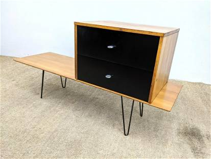 PAUL McCOBB 2pc Maple Coffee Table and Cabinet. Table w