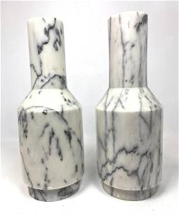 Pair Gray Veined Marble Lamp Bases. Heavy solid.