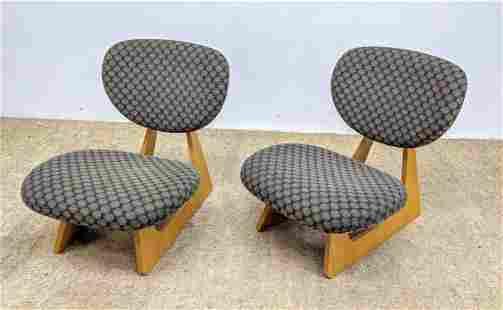 Pair JUNZO SAKAKURA Low Lounge Chairs. TENDO MOKKO