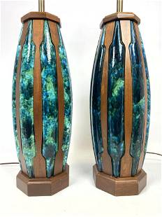 Modernist Pottery and Walnut Table Lamps. Colorful patt
