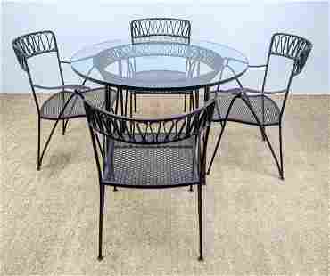 SALTERINI Iron Dinette Patio Set. Table and 4 Chairs.