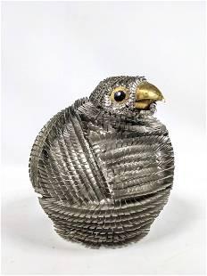 Cut Tin and Brass Brutalist Modernist Bird Sculpture.
