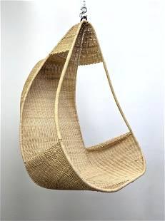 Hanging Wicker Rattan Scoop Lounge Chair.