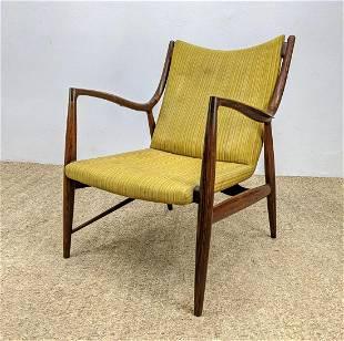 Rosewood Swoop Arm Lounge Chair. Finn Juhl style. no