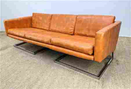 Milo Baughman Attributed Sofa Couch. Cantilever chrome