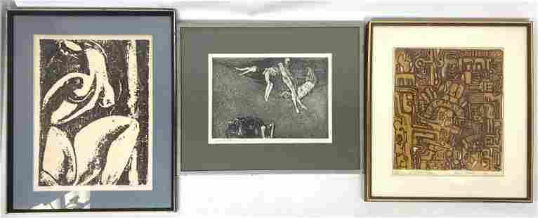 Set 3 Mid Century Modern Etching Prints. SANKOWSKY, SUS