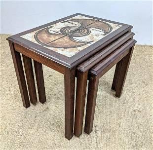 Danish Modern Tile Top Nesting Tables.