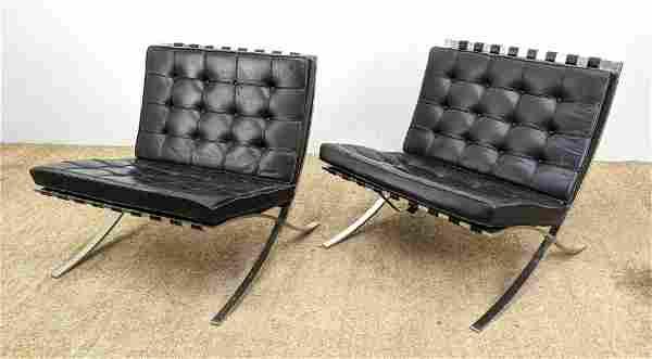 Pr KNOLL Black Leather Barcelona Lounge Chairs. Mies va