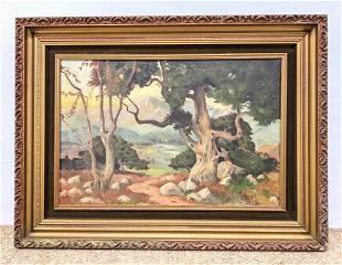 J H MARTEN '28 Romantic Landscape Painting. Canvas. Sig