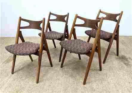 Set 4 Hans Wegner Teak Dining Chairs. Signed.